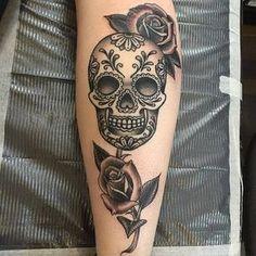 Sugar Skull Tattoo by Mike Harper