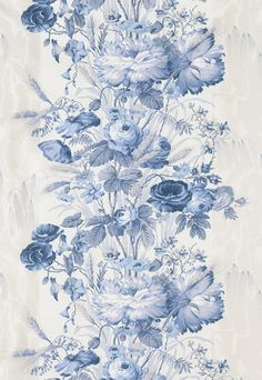 Boughton House Schumacher Fabric, chintz comes from a moiré detailing—a supreme example of Victorian textile art. Clear, crystal, powder blue and white theme Wallpaper Size, Fabric Wallpaper, Delft, Molduras Vintage, Art Chinois, Art Japonais, Textiles, Rose Cottage, Blue Roses