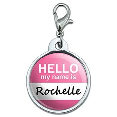 Graphics and More Chrome Plated Metal Small Pet ID Dog Cat Tag Hello My Name Is RH-SA - Rochelle Enhance your pets collar with this one-of-a-kind pet tag! The tag is chrome plated metal with the UV resistant resin coated design shown. The tag is approximately 0.88 (22mm) in diameter. Can be ea http://www.comparestoreprices.co.uk/january-2017-1/graphics-and-more-chrome-plated-metal-small-pet-id-dog-cat-tag-hello-my-name-is-rh-sa--rochelle.asp