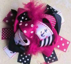 Pink Anchor Polka Hair Bow