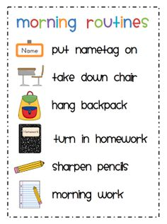 Morning Routines  I love creating visials for just about everything in my classroom, especially with all my ELL kids. In order to help my kiddies learn our morning routines, I just put this quick poster together. By the way, our first couple of days went fantastic.