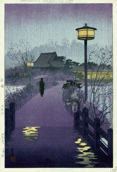Shiro Kasamatsu    Rainy Night at Shinobazu Pond