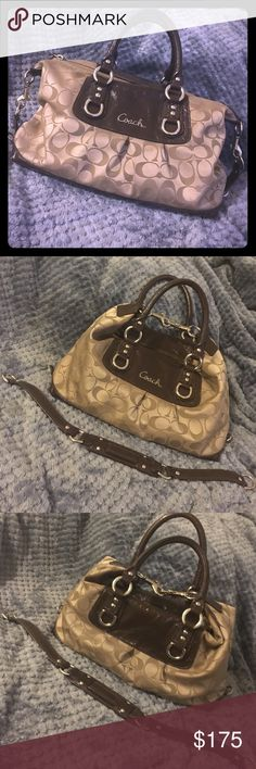 Coach Ashley Signature 2-Way Satchel Handbag New Coach Ashley Signature 2-Way Satchel Handbag/Shoulder Bag. Khaki Sateen & Chocolate Brown Leather, Silvertone Hardware. Optional Shoulder Strap. Latch Hooks Clip Up Over the Top or Down by Each Side. Additional Clip Loops to Remove Shoulder Strap From Going Through the Bottom Feet Section. Coach Logo in Cursive Silvertone. Beautiful Bag_ Excellent Condition. Chocolate Brown Interior. 1 Interior Pocket, 1 Interior Zipper Pocket. Additional…