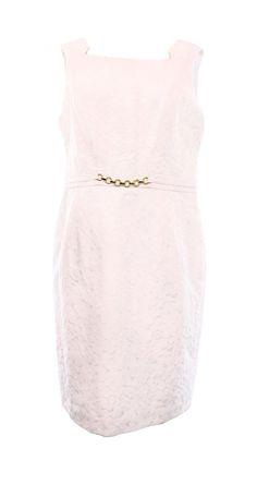 Ellen Tracy NEW Women's 6 Bright White Jacquard Chain Waist Sheath Dress $128
