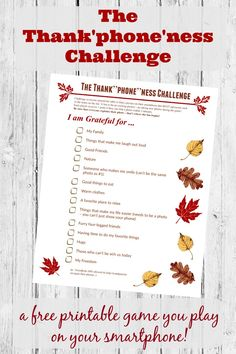 FUN Thanksgiving game for kids & adults to play together at the table! Print this free Thanksgiving Photo Scavenger Hunt and get the whole family involved in showing why they are thankful this year! Great way to teach to kids & teens Thanksgiving Games For Adults, Thanksgiving Photos, Thanksgiving Traditions, Thanksgiving Parties, Thanksgiving Activities, Thanksgiving Crafts, Free Thanksgiving Printables, Holiday Parties, Scavenger Hunt Games