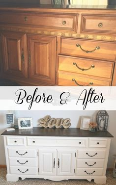 Before and After Refurbished Dresser with homemade chalk finish paint recipe – Furniture Makeover & Furniture Design Diy Dresser Makeover, Bedroom Furniture Makeover, Painted Bedroom Furniture, Dresser Ideas, Chair Makeover, Bedroom Dresser Decorating, Vintage Industrial Furniture, Repurposed Furniture, Home Furniture
