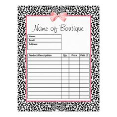 Make customer ordering easy with these cute and trendy leopard print boutique order forms with a modern black and white leopard pattern and embellished with a printed girly pink ribbon. Personalize by adding the name of your store or online shop. These stylish order form templates have a place for a product description, quantity and sales price.