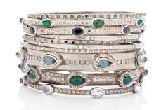 Stack 'Em Up! The more the better -- New World bangles with white, champagne and black diamonds and colored gemstone doublets. Image property of Armenta.