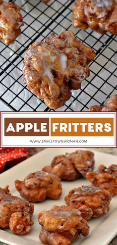 This crowd-pleasing holiday desserts are luscious deep fried donuts filled with apples, cinnamon and drizzled with an easy three ingredient glaze. Save this dessert recipe for later! Apple Fritter Recipes, Donut Recipes, Apple Recipes, Sweet Recipes, Cooking Recipes, Cooking Tools, Recipes For Apples, Easy Apple Fritters Recipe, Desserts With Apples