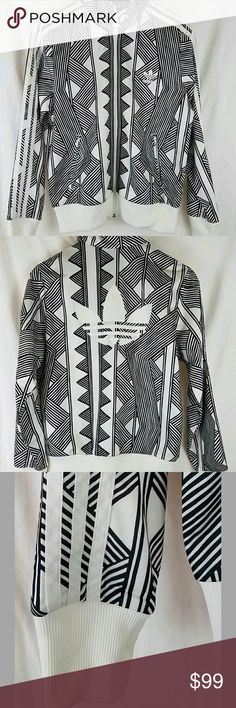 Women's Adidas Track Jacket, Firebird, MKX FB TT Pre-owned womens Adidas track jacket in size large.   This is part of the collection Adidas made with the Brazilian fashion brand The Farm Company. Known for colorful prints, the South Americans have gathered a cult following. The jacket looks clean and like new!   Please message with any questions. Thanks for looking.   From the manufacturer:  The bold graphic pattern on this women's Mexkumerex Firebird Track Top is inspired by the…
