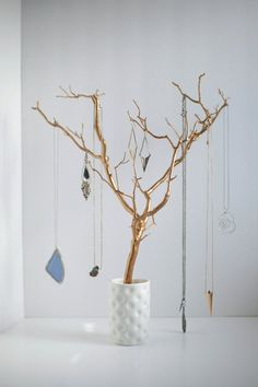 nice PRICE LOWERED: Jewelry Holder Tree Gold Organizer painted necklace hanger bedroo... by http://dezdemon-jewelty.pw/diy-jewelry/price-lowered-jewelry-holder-tree-gold-organizer-painted-necklace-hanger-bedroo/