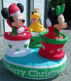 mickey minnie tea cups revolving gemmy christmas inflatable airblown animated
