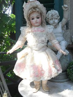 ~~~ Fantastic Antique French Silk and Lace Dress with Silk Bonnet ~~~