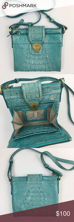 Brahmin Melbourne Mojito Crossbody Bag in Aqua Multiple zip and slide pockets organize a croc-embossed leather mini-tote topped with an adjustable shoulder strap. Features turnlock tab closure, exterior slip pocket, two top-zip compartments with center magnetic-snap pocket, interior wall pockets, six credit card slots, and ID window. Brahmin Bags Crossbody Bags