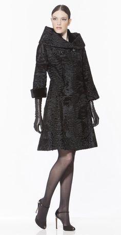Braschi Black Swakara Lamb Fur Coat with Sheared Mink