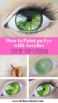 Master the art of painting a realistic eye using acrylic paint in this easy step-by-step tutorial for beginner (and intermediate) artists. Canvas Painting Tutorials, Easy Canvas Painting, Simple Acrylic Paintings, Eye Painting, Acrylic Painting Techniques, Acrylic Art, Painting Abstract, Painting Acrylic Beginners, Acrylic Tutorials