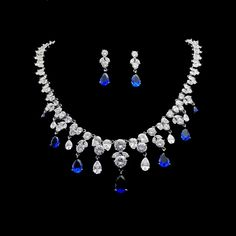 Luxury Wedding Party Bridal Jewelry Sets Blue Cubic Zirconia Drop Earrings And Necklace Set