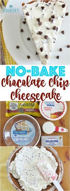 No-Bake Chocolate Chip Cheesecake recipe from The Country Cook