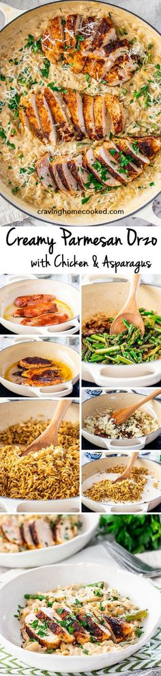 Four Kitchen Decorating Suggestions Which Can Be Cheap And Simple To Carry Out Quick And Delicious Creamy Parmesan Orzo With Chicken And Asparagus That Can Be On Your Dinner Table In Only 30 Minutes Cheesy, Creamy, Delicious Goodness Pasta Recipes, New Recipes, Chicken Recipes, Dinner Recipes, Cooking Recipes, Favorite Recipes, Healthy Recipes, Recipies, Dinner Ideas