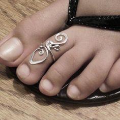 Cute Footprints .925 Sterling Silver Filled Adjustable Toe Ring
