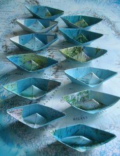 paper boat origami decoration nautical theme ocean party maps atlas. $2.50, via Etsy.