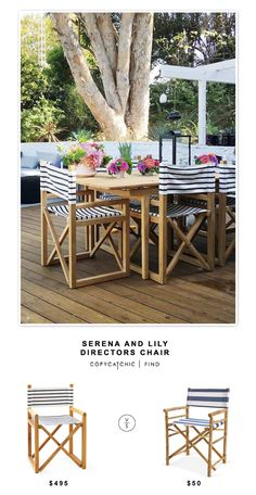Serena and Lily Directors Chair for $496 vs Hayneedle Zew Bamboo Director Chair for $100 (set of 2)   @copycatchic look for less budget home decor design