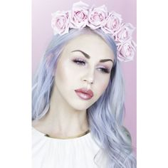 LULU IN THE SKY Talia   Pastel Pink Rose Flower Crown ($33) ❤ liked on Polyvore featuring accessories, hair accessories, pink, flower crown, pink flower garland, flower garland headband, rose garland and flower crowns