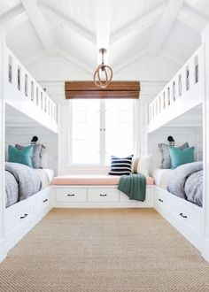The homeowners wanted a fun retreat to house all their grandkids, and four built-in bunk beds proved the perfect solution. Built in bunk beds. Home decor and decorating ideas. Bunk Beds Built In, Cool Bunk Beds, Kids Bunk Beds, Twin Beds, Double Bunk Beds, Trundle Bunk Beds, Build In Bunk Beds, Bunkbeds For Small Room, Bunk Bed Ideas For Small Rooms