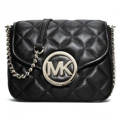 New Michael Kors Fulton Quilted Small Leather Crossbody Black #MichaelKors #MessengerCrossBody