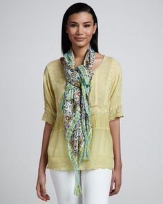 Buddie Embroidered Tunic & Bayhill Silk Print Scarf by Johnny Was Collection at Neiman Marcus.