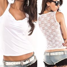 Floral-White-Lace-Stretch-Racer-Back-Cami-Shirts-Slimming-Mesh-Tank-Top-T-Shirt