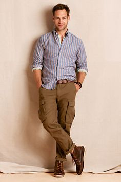 Men's Cargo Pant 628 Straight from Lands' End Canvas