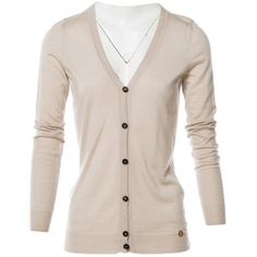 Pre-owned Gucci Cashmere Cardigan ($225) ❤ liked on Polyvore featuring tops, cardigans, beige, women clothing knitwear, v neck tops, short-sleeve cardigan, cashmere cardigan, v-neck cardigan and long sleeve cardigan