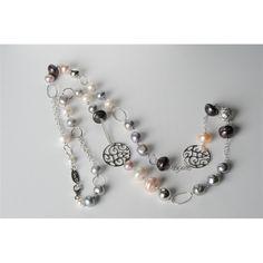 Collana perle di fiume bianche e grigie