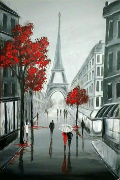 """artfinder: """" Eiffel Streets by Aisha Haider Acrylic painting """" Inspired to paint by a recent trip to paris. The focal point of this artwork is the iconic Eiffel Tower … """" """" Paris Kunst, Art Parisien, Simple Acrylic Paintings, Beginner Painting, Painting Acrylic Beginners, Painting Inspiration, Painting & Drawing, Amazing Art, Amazing Paintings"""