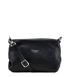 Osprey London Women The Carina Shrug Black Italian Leather Handbag