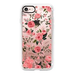 Pink Floral Flowers Feminine Roses Transparent Case 002 - iPhone 7... (€38) ❤ liked on Polyvore featuring accessories, tech accessories, iphone case, flower iphone case, apple iphone case, transparent iphone case, iphone cases and iphone cover case