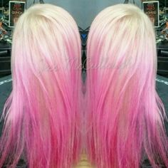 Pink and blonde ombre melt #blondehair #pinkhair #pink #white #ombre #pinkombre #colormelt