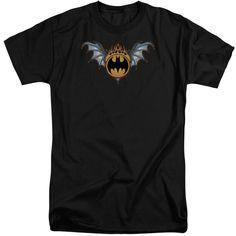 BATMAN/BAT WINGS LOGO-S/S ADULT TALL-BLACK