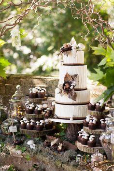 love the tree slabs. Woodland Rustic Wedding Cake from rusticweddingchic.com