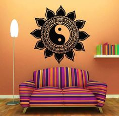 Shop for Indian Floral Design Sun Flower Decal Yin Yang Vinyl Sticker Home Interior Art Mural Decor Sticker Decal size Color Black. Get free delivery at Overstock - Your Online Art Gallery Shop! Mandala Art, Flower Mandala, Mandala Painting, Mandala Drawing, Wall Stickers Mandala, Wall Stickers Home, Mural Wall Art, Vinyl Wall Art, Wall Decal
