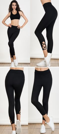 For in house Yoga and out door Jogging - Black High Waist Lattice Detail Cropped Leggings