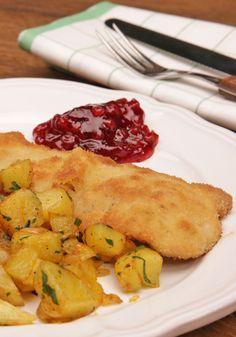 Einfaches Schnitzel mit schnellen Bratkartoffeln - mit Video-Anleitung