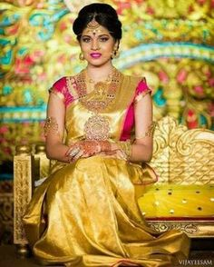 55 ideas for indian bridal saree color combinations gold Gold Silk Saree, Bridal Silk Saree, Pure Silk Sarees, Saree Wedding, Telugu Wedding, South Indian Bride, Indian Bridal, Kerala Bride, Bridal Sarees South Indian