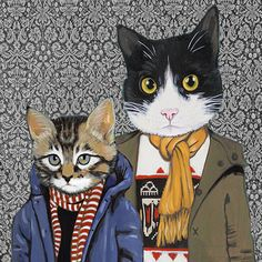 Family Portrait III  Cats In Clothes  Fine by HeatherMattoonArt, $20.00