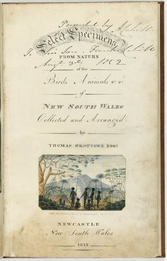 Title page of 'Select Specimens from Nature of the Birds and Animals of New South Wales' by Thomas Skottowe Esq. 1813 - with vignette of Aboriginal family group at camp in Newcastle (Mitchell Lib., State Library of New South Wales)