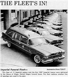 Imperial Funeral Fleet 1957  delivered to House of Diggs, Detroit Negro Funeral Home