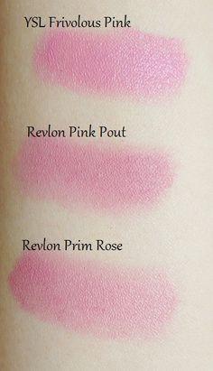 Yves Saint Laurent Rouge Volupte Frivolous Pink, Revlon Pink Pout, Revlon Prim Rose
