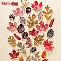 Autumn Art: Use beautiful fall leaves as canvases for doodle designs. Press colorful finds inside a heavy book for about 10 days, then draw on them with metallic paint markers. To add a bit more strength and shine, seal the finished leaves with Mod Podge. Fall Crafts For Kids, Crafts To Make, Kids Crafts, Arts And Crafts, Kids Diy, Toddler Crafts, Book Crafts, Decor Crafts, Holiday Crafts