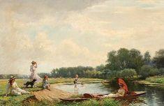 William Kay Blacklock (1872-1922) British Painter ~  A Day at the River
